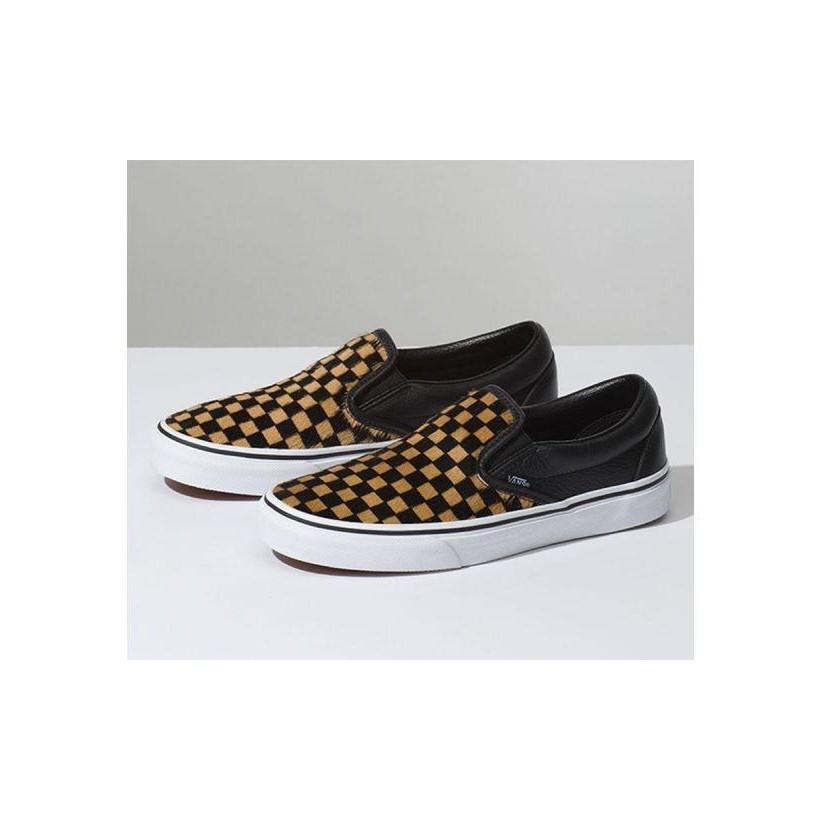 (Calf Hair) Checkerboard/True White - Classic Slip-On Calf Hair Sale Shoes by Vans