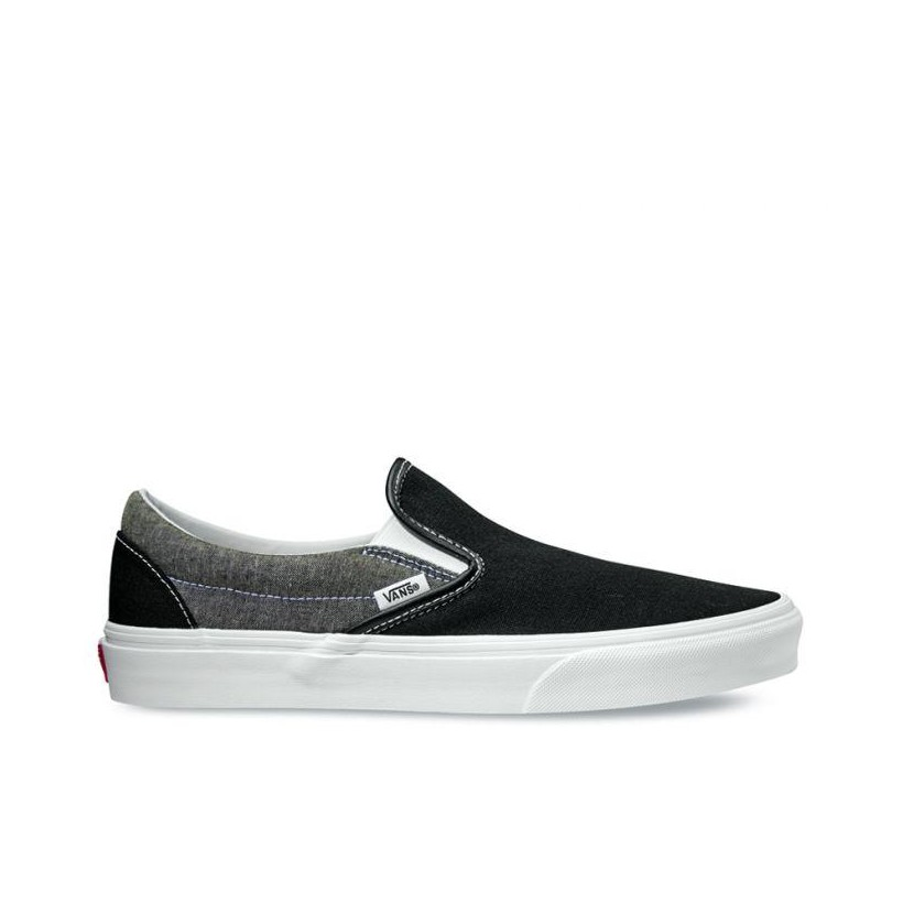 (Chambray) Canvas Black/True White - Classic Slip On Chmbray Canvas Black/White Sale Shoes by Vans