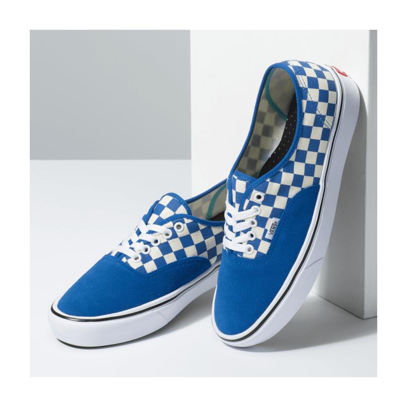 (Checker) Lapis Blue/True White - COMFYCUSH AUTH CHECK LAPIS BLU Sale Shoes by Vans