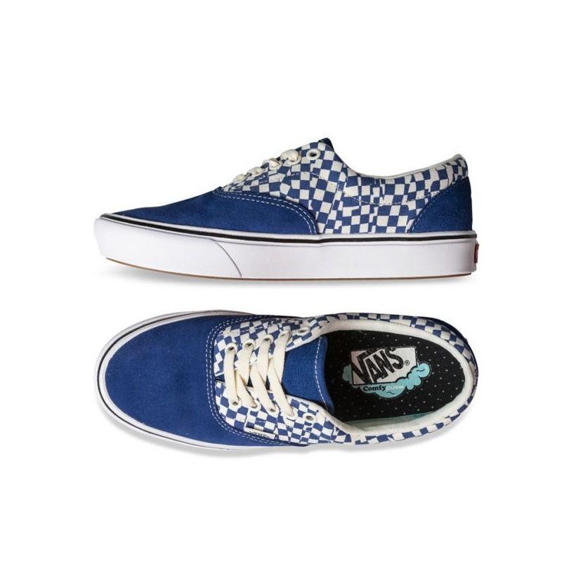(Tear Check) True Blue/True White - COMFYCUSH ERA TEAR CHECK BLUE Sale Shoes by Vans