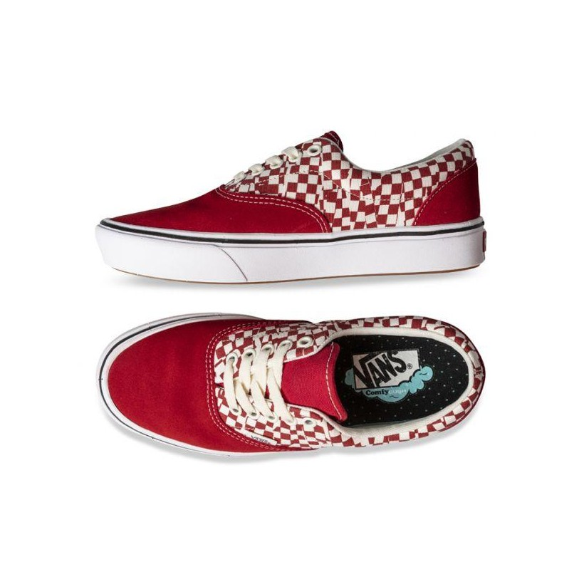(Tear Check) Racing Red/True White - COMFYCUSH ERA TEAR CHECK RED Sale Shoes by Vans