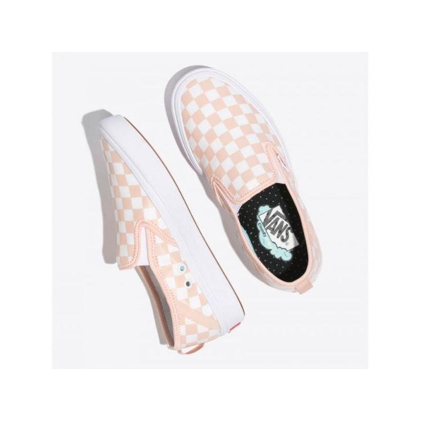 (Checker) Spanish Villa/White - Comfycush Slip On Checkerboard Pink/White Sale Shoes by Vans