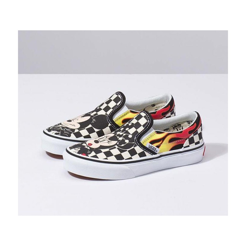 (Disney) Mickey & Minnie/Checker Flame - Disney X Vans Kids Mickey & Minnie Slip-On Sale Shoes by Vans