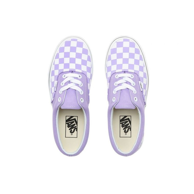 (Checkerboard) Violet Tulip/True White - Era Checkerboard Purple/White Sale Shoes by Vans
