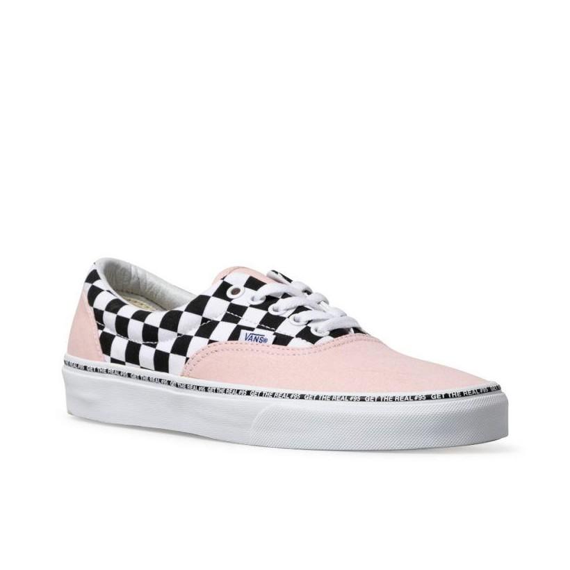 (Get The Real #95) Strawberry Cream/Checkerboard - Era Get The Real 95 Strawberry Check Sale Shoes by Vans