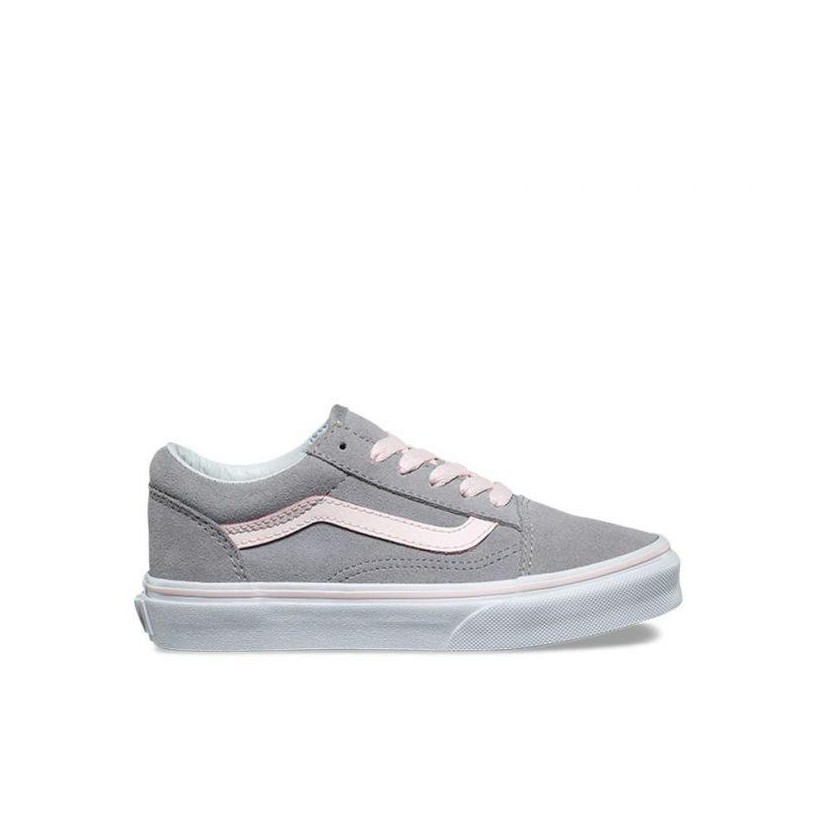 (Suede) Alloy/Heavenly Pink/True White - Kids Old Skool Sale Shoes by Vans