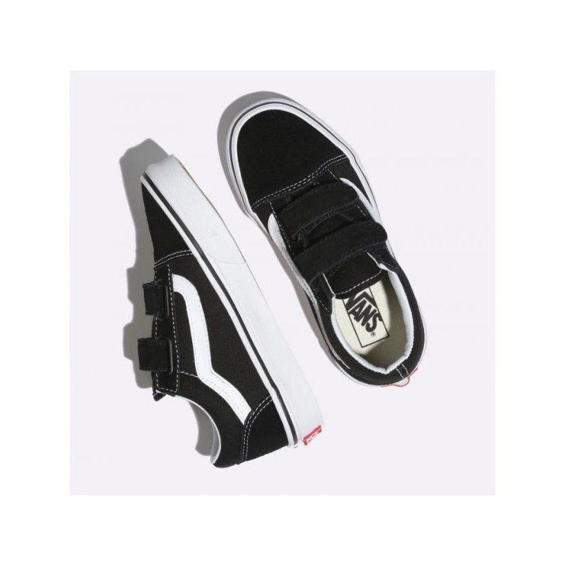 Black/True White - Kids Old Skool Velcro Black/White Sale Shoes by Vans