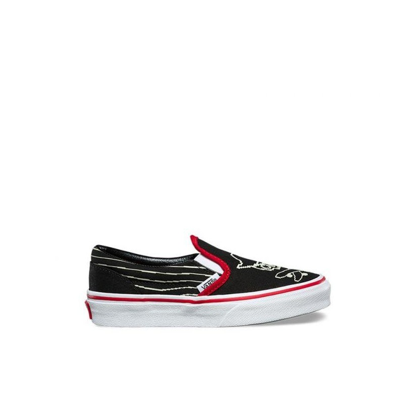 (Pixel Pirate) Black/Racing Red/True White - Kids Pixel Pirate Classic Slip-On Sale Shoes by Vans