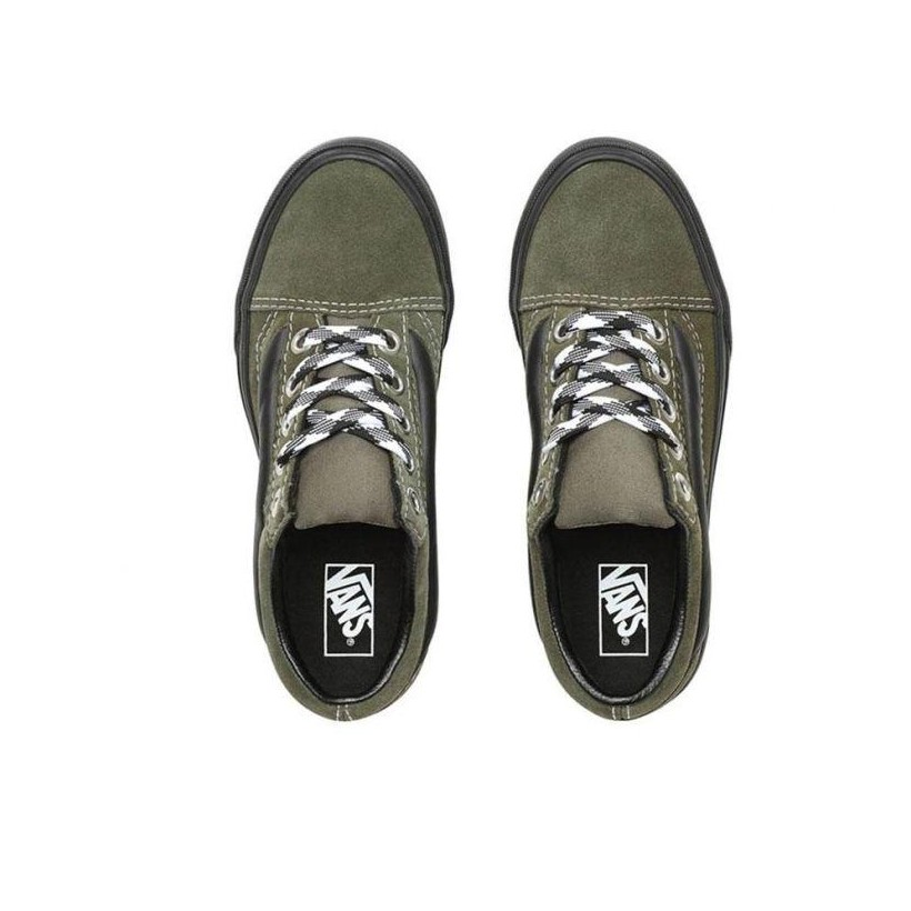 (90S Retro) Grape Leaf/Black - Old Skool 90s Retro Lug Platform Green Sale Shoes by Vans