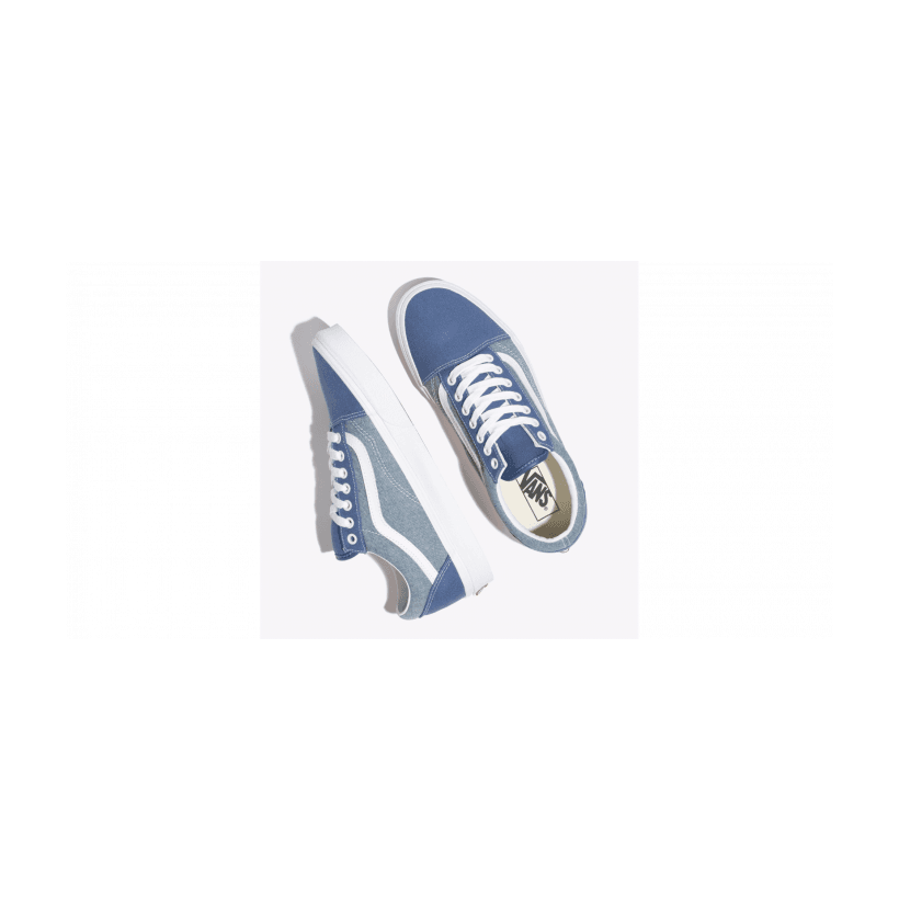 (Chambray) Canvas True Navy/True White - Old Skool Chambray Navy White Sale Shoes by Vans