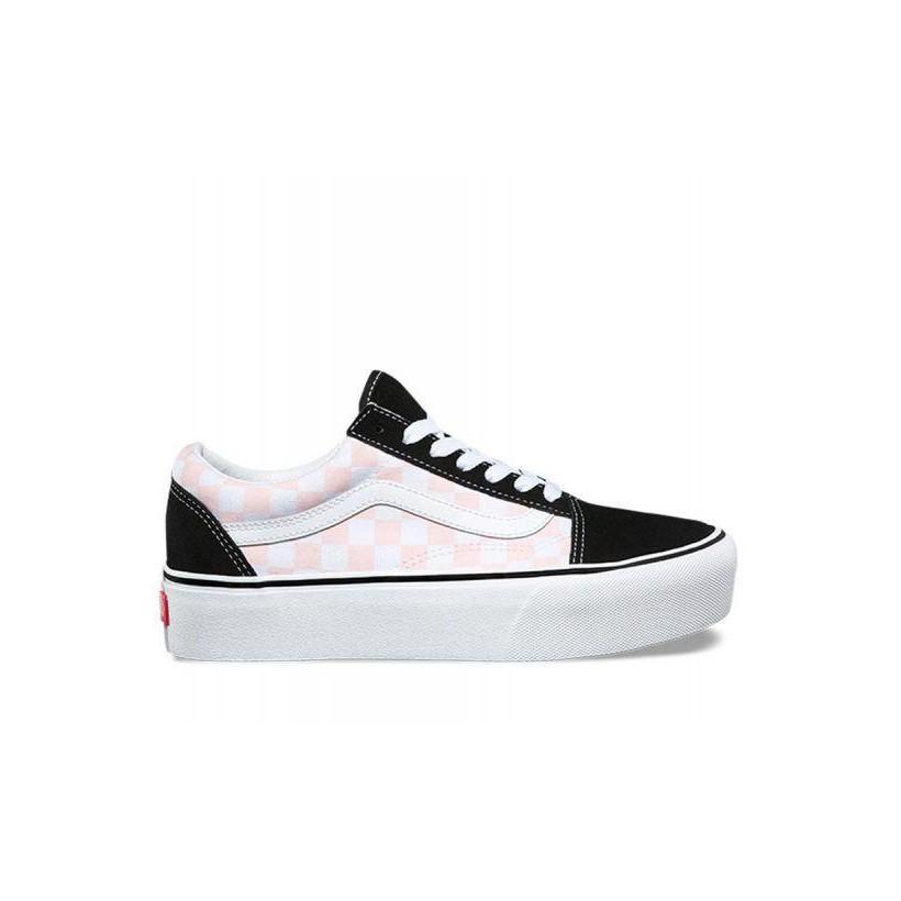 (Checkerboard) Black/Pink Dogwood - Old Skool Platform Sale Shoes by Vans