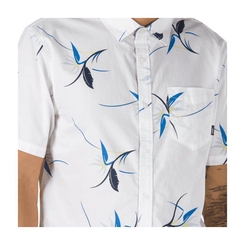White Open Shade Floral - Shade Short-Sleeve Buttondown Shirt Sale Shoes by Vans