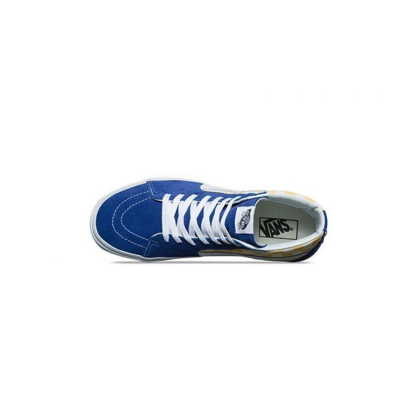 (BMX Checkerboard) True Blue/Yellow - SK8-Hi BMX Checkerboard Sale Shoes by Vans
