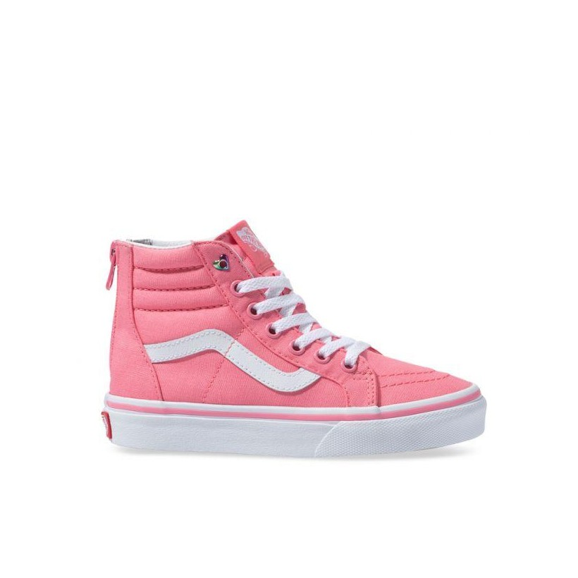 Pink - Sk8-Hi Kids Zip Heart Eyelet Strawberry Sale Shoes by Vans