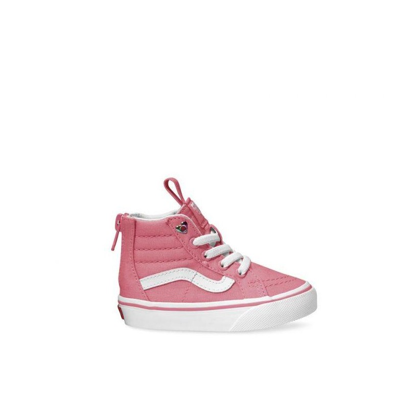 (Heart Eyelet) Strawberry Pink/True White - Sk8-Hi Toddler Zip Heart Eyelet Strawberry Sale Shoes by Vans