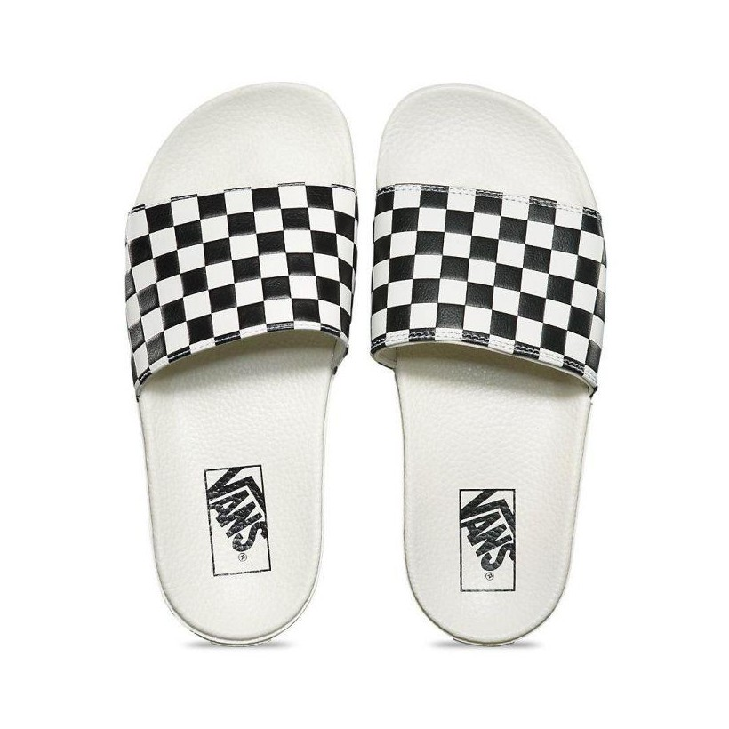(Checkerboard) White/Black - Slide On Sale Shoes by Vans