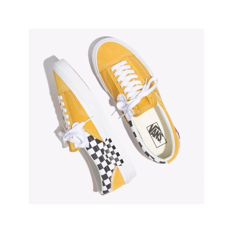 (Checkerboard) Yolk Yellow/True White - Slip-On Cap Sale Shoes by Vans