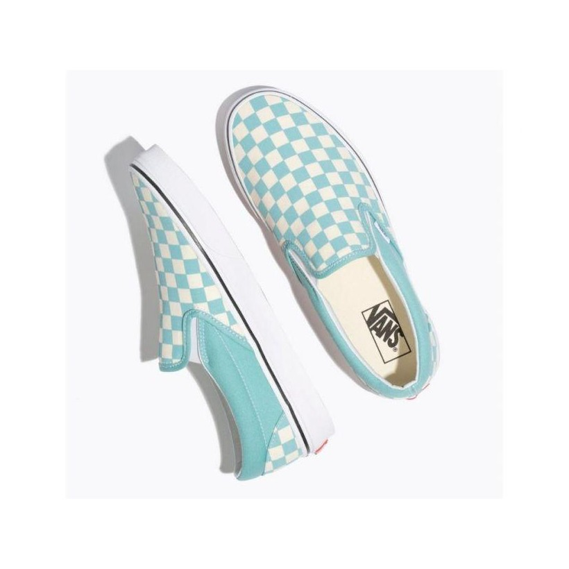 (Checkerboard) Aqua Haze/True White - Slip On Checkerboard Aquia Haze/ White Sale Shoes by Vans