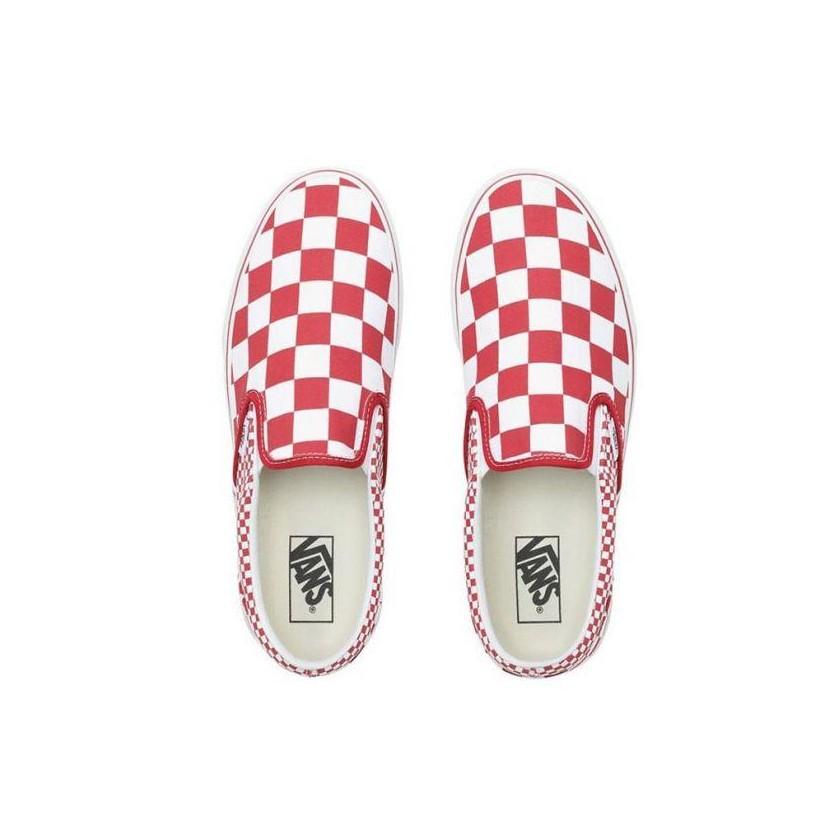 (Mix Checker) Chili Pepper/True White - Slip On Mix Checker Chilli Pepper/True White Sale Shoes by Vans