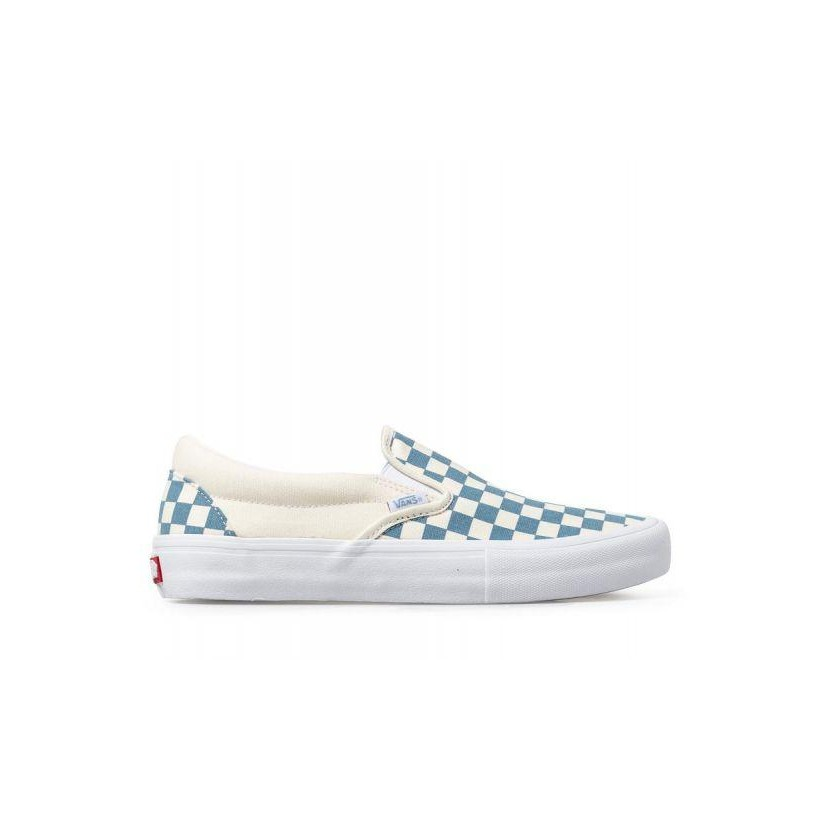 (Checkerboard) Adriatic Blue/White - Slip On Pro Sale Shoes by Vans