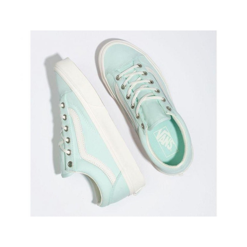 (Brushed Twill) Soothing Sea/Snow White - Style 36 Brush Twill Soothing Sea Green Sale Shoes by Vans