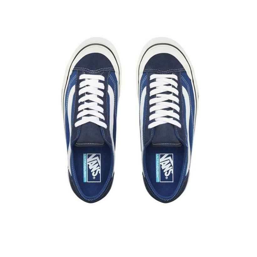 (Checkerboard) True Blue/Marshmallow - Style 36 Decon Checker Blue Sale Shoes by Vans