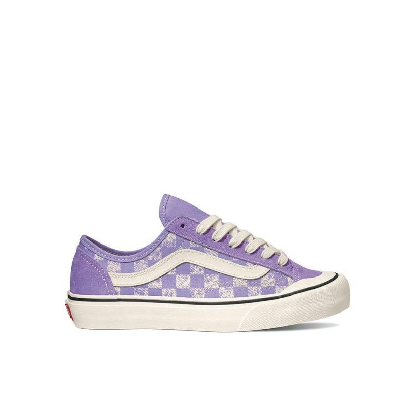 (Distressed Checkerboard) Violet Tulip - Style 36 Decon Distressed Checkerboard Sale Shoes by Vans