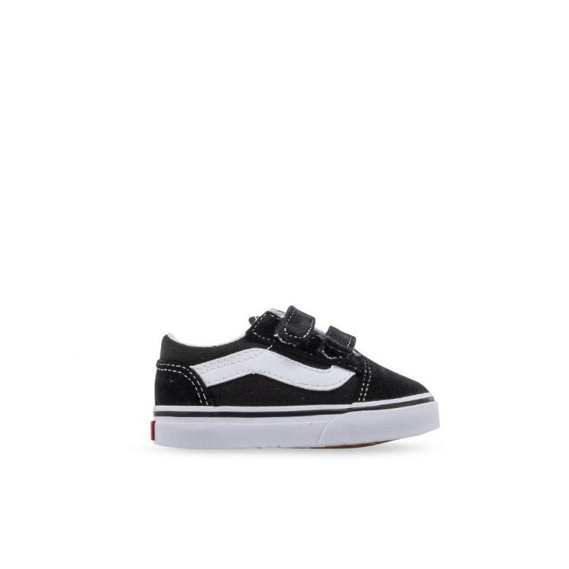 (V/Canvas)Black/True White - Toddler Old Skool Velcro Canvas Black/White Sale Shoes by Vans