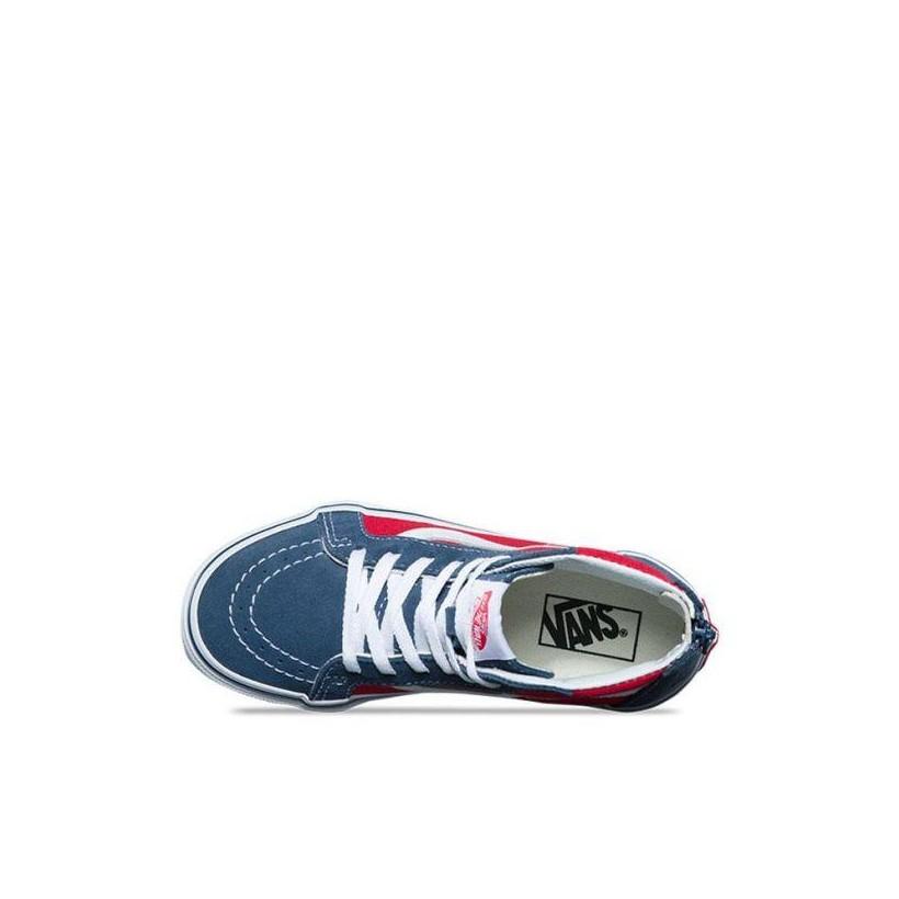 (Tri Pop) Vintage Indigo/Rococco Red - Toddler SK8-Hi Sale Shoes by Vans