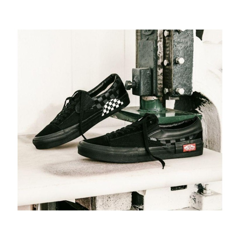 (Checkerboard) Black/Black - Unisex Slip-On Cap Sale Shoes by Vans