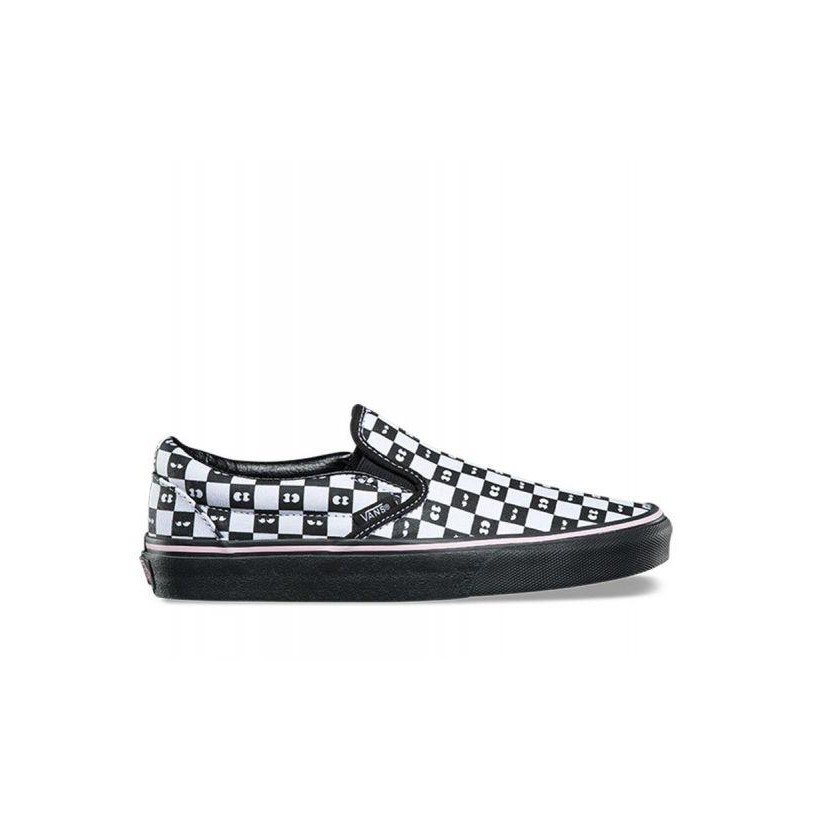 (Lazy Oaf) Checkerboard/Eyeballs - Vans x Lazy Oaf Classic Slip On Sale Shoes by Vans