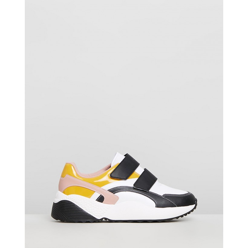 Antonella Sneakers White, Black & Yellow by Vizzano