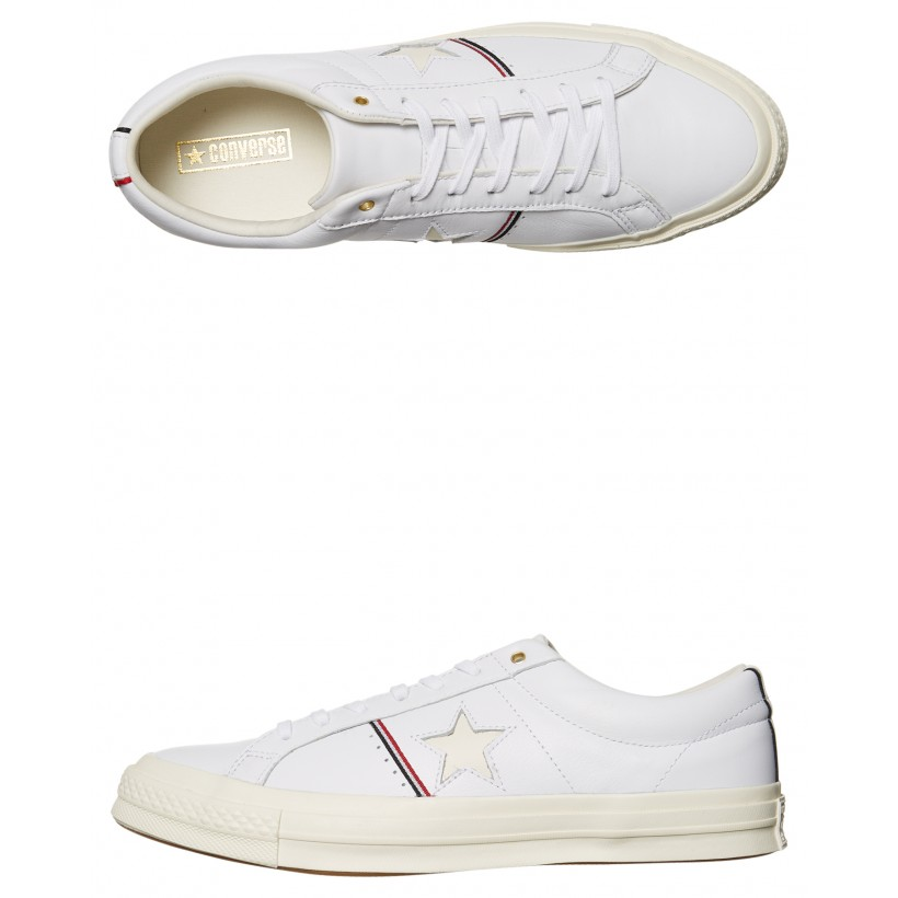 Mens One Star Piping Leather Shoe White Red Egret By CONVERSE
