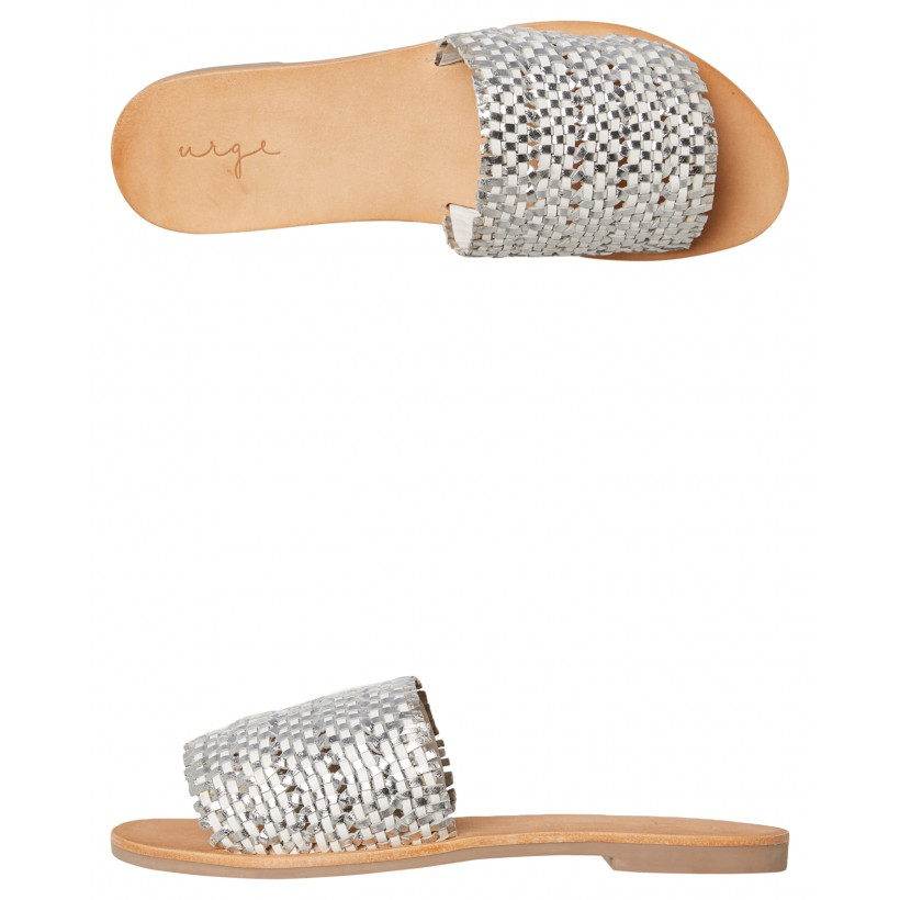 Womens Kendal Slide White Silver By URGE