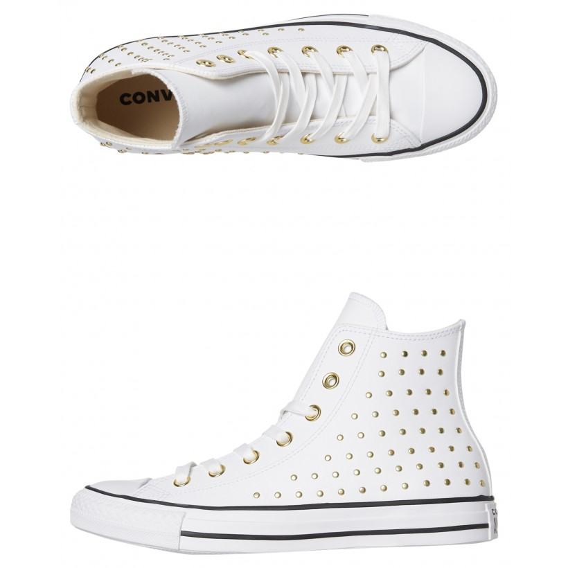 Chuck Taylor All Star Leather Stud Hi Shoe White By CONVERSE
