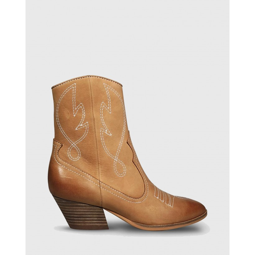 Keith Embroidered Western Style Ankle Boots Brown by Wittner