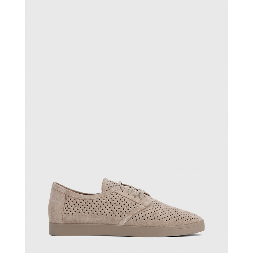 Alara Suede Leather Lace Up Sneakers Grey by Wittner
