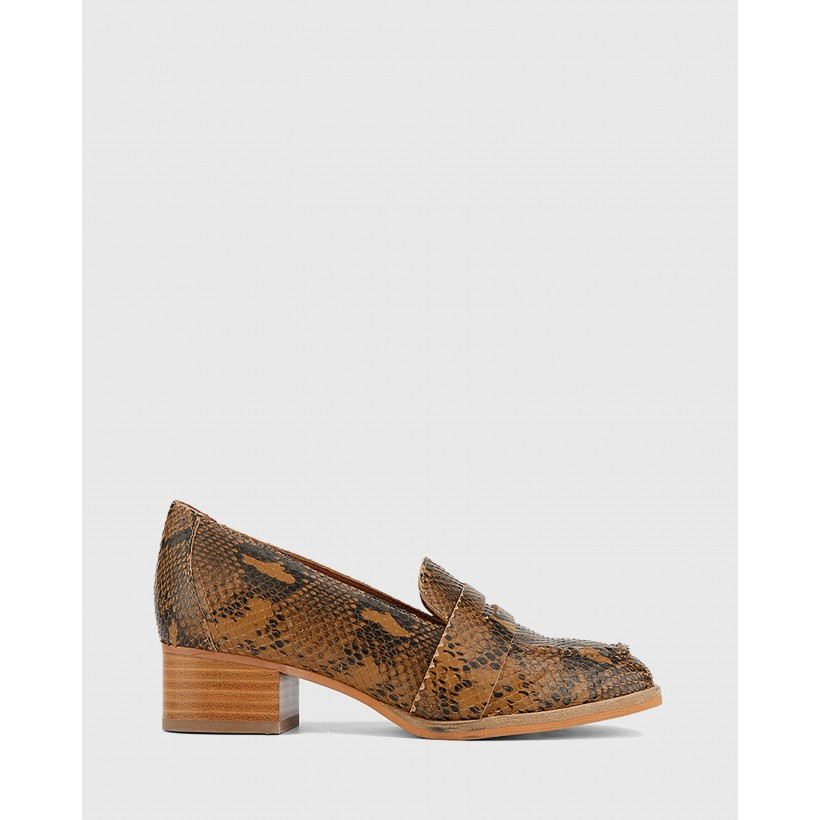 Fentis Snake Print Leather Block Heel Square Toe Loafers Tan by Wittner