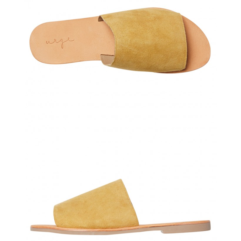 Womens Molly Suede Slide Yellow By URGE