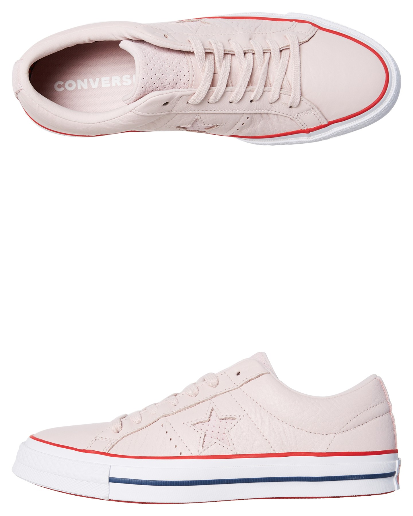 Womens One Star Leather Shoe Barely Rose By CONVERSE
