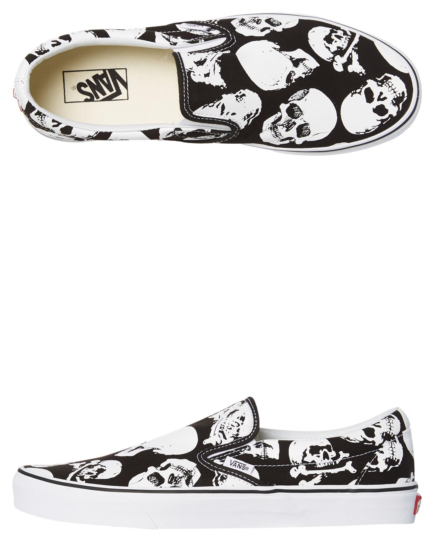 Black White Coloured Mens Classic Slip On Skulls Shoe Black White By VANS  9cb77221e