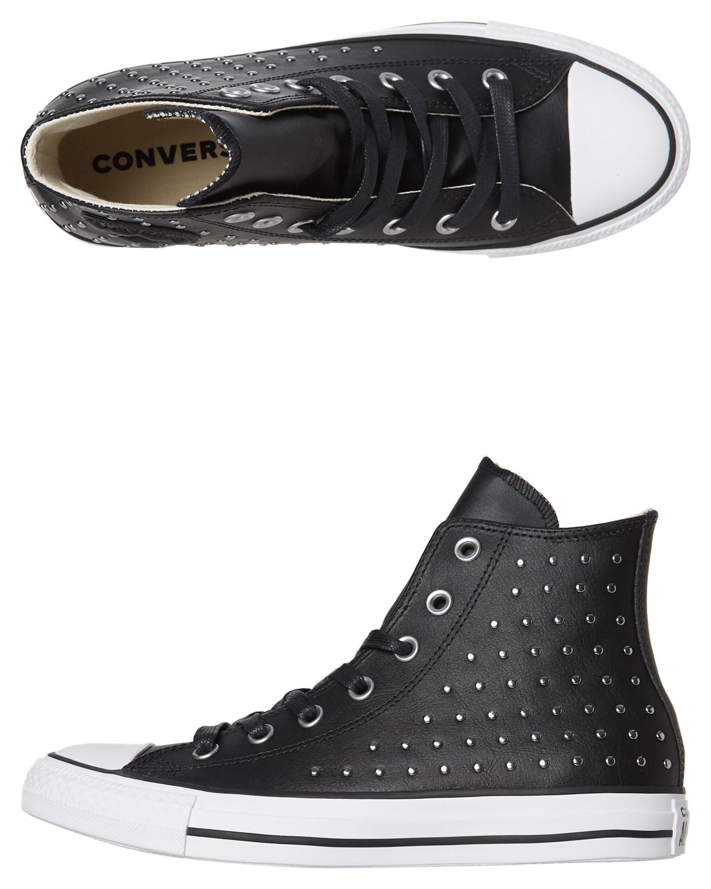 3a4e6a773866 Black Coloured Chuck Taylor All Star Leather Stud Hi Shoe Black By CONVERSE  | ShoeSales