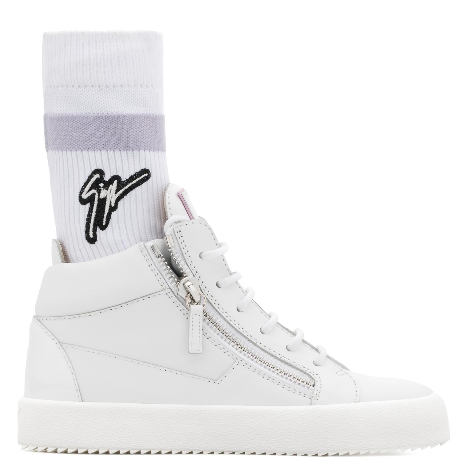 852eb097aa9e5 Giuseppe Zanotti White Leather mid-top sneaker with white and purple  'Signature' sock | ShoeSales