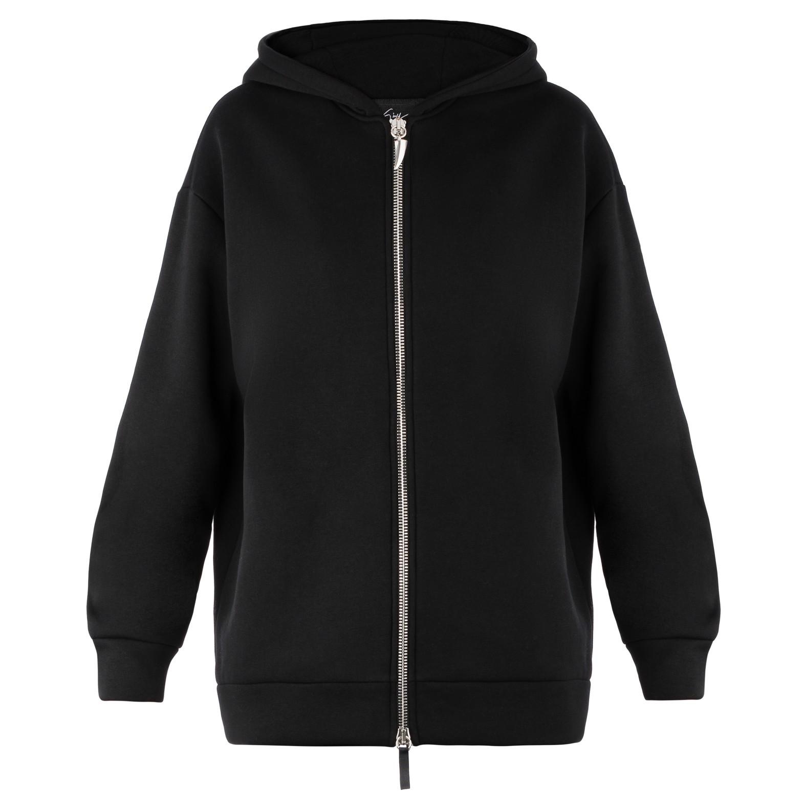 809e7e21ddf3e Giuseppe Zanotti Black Plush fabric hoodie | ShoeSales