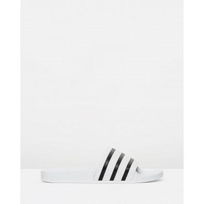 Adilette - Unisex White & Black by Adidas Originals