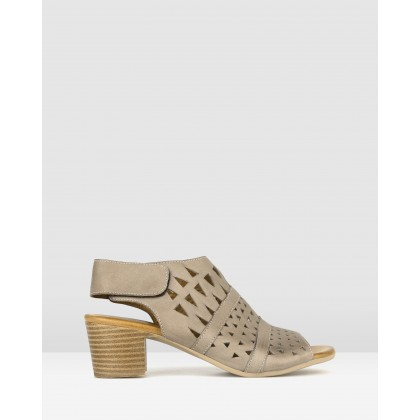 Delicious Cut Out Leather Sandals Taupe by Airflex