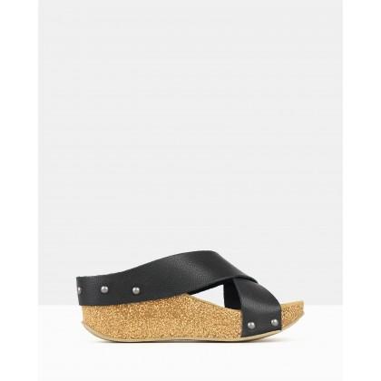 Franca Cork Wedge Sandals Black by Airflex
