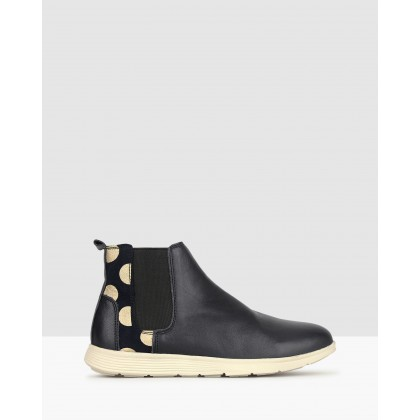 Hollie Flat Leather Chelsea Boots Navy by Airflex