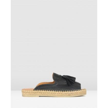 Love It Leather Espadrille Sandals Black by Airflex