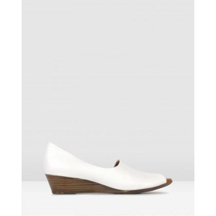 Farrah Leather Peep Toe Wedges White by Airflex